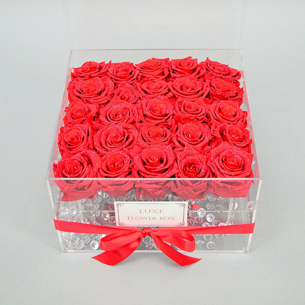 """DIAMOND DUST""SAGESSE ROSES IN ACRYLIC BOX LAST OVER ONE YEAR!"