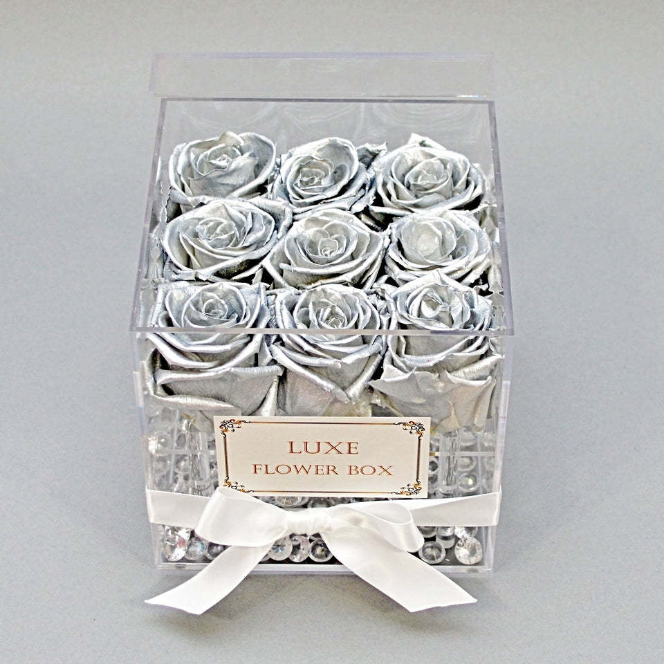 SILVER ROSES IN ACRYLIC BOX - LAST OVER ONE YEAR