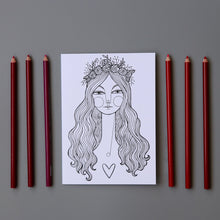 Halo Girl coloring cards with red and pink colored pencils. These cards can be colored on or left black and white.