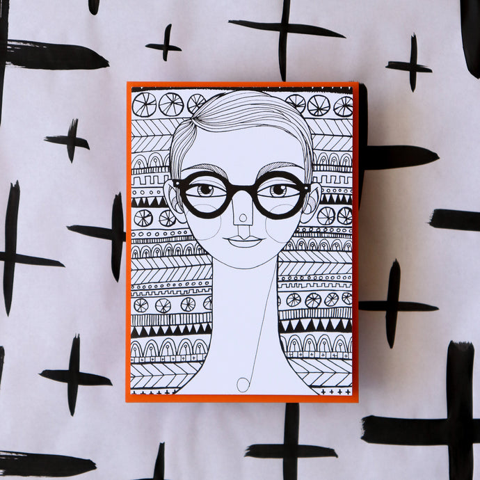 Glasses Girl Greeting Card 4-pack