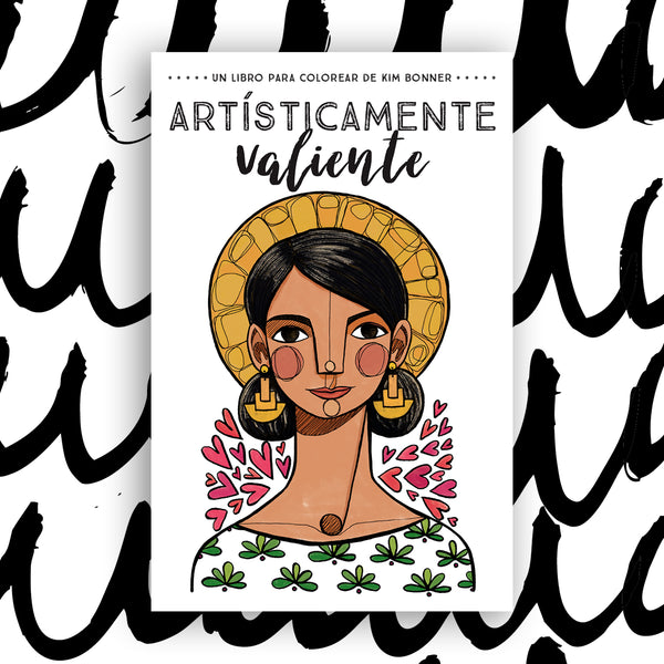 The cover of Artisticamente Valiente on a black and white background.