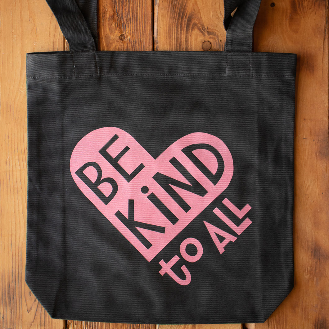 Be Kind to All dark gray canvas tote bag