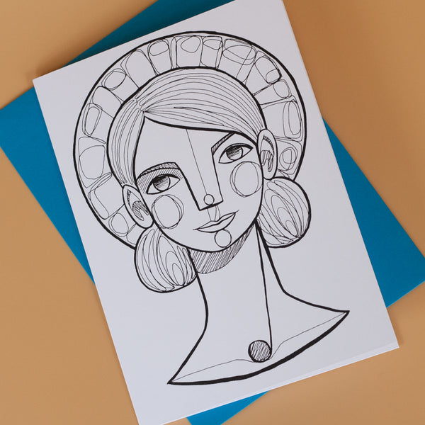 Halo Girl Greeting Card 4-pack