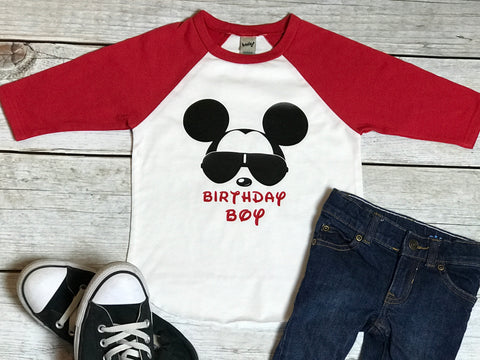 cab036701 Mickey Mouse with Glasses - Boys Baseball Sleeve Tee - Birthday Boy - Red  Sleeves