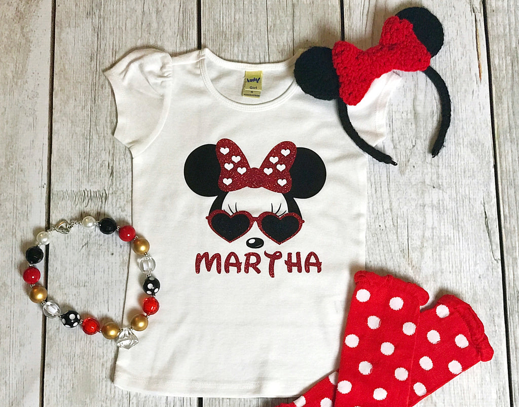 Minnie Mouse T Shirt Design   Minnie Mouse With Glasses Girls Shirt Personalized With Name