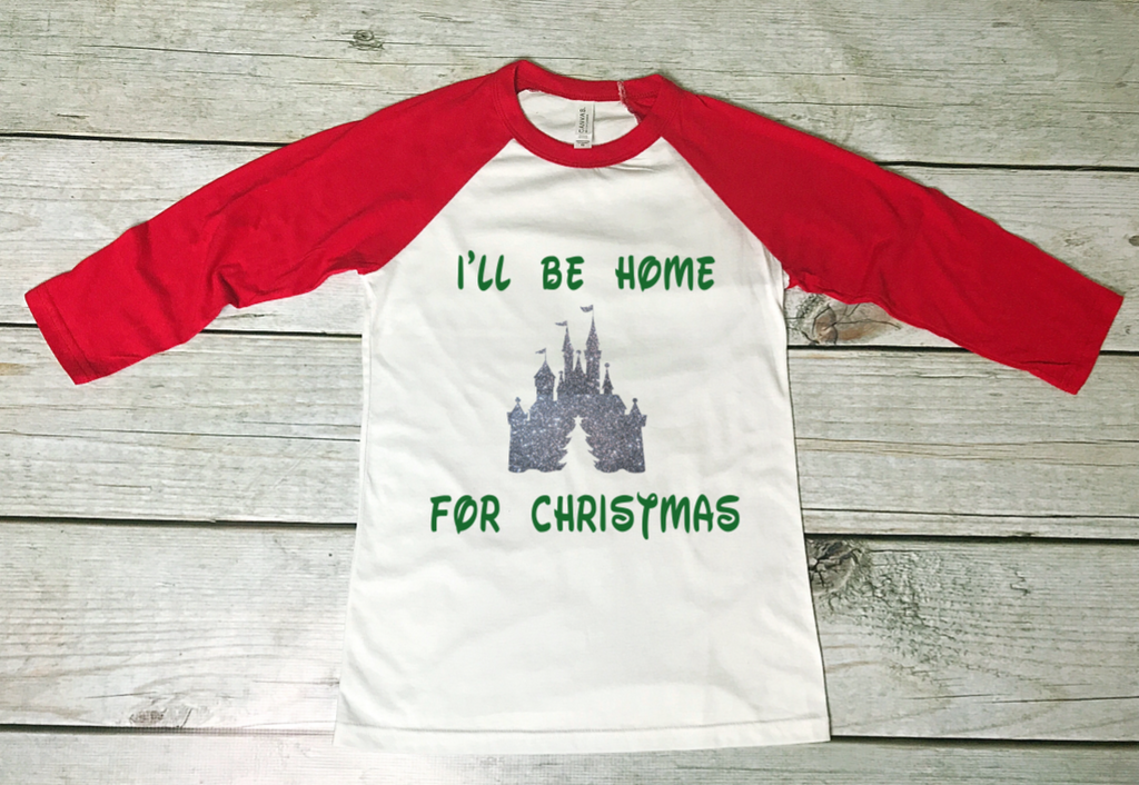 I\'ll be Home for Christmas - Disney Christmas Tee - Red Sleeved ...