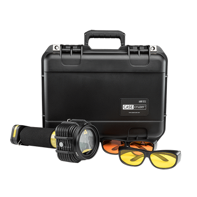PL 445nm Blue 9W Forensic Laser System - distributed by FoxFury, rechargeable for easy transport and waterproof for easy cleaning. Kit Shown