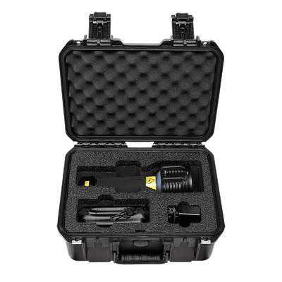 PL 445nm Blue 9W Forensic Laser System - distributed by FoxFury, rechargeable for easy transport and waterproof for easy cleaning. Inside of the case