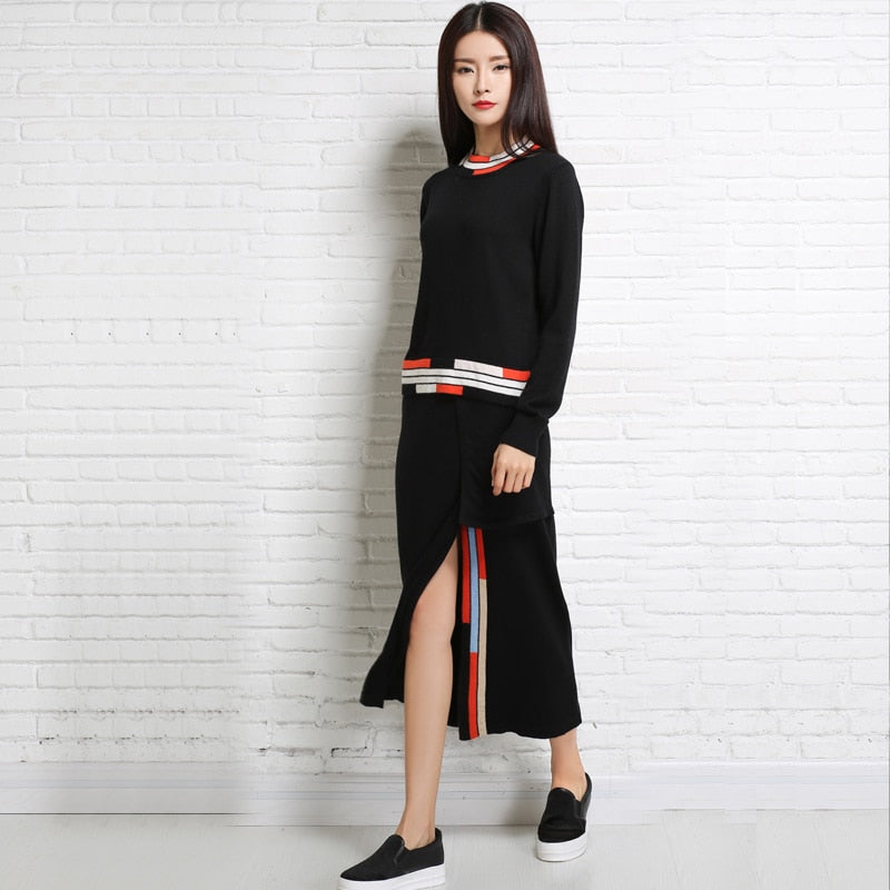 17Autumn And Winter Fashion Korean Women Sweater Knit Dress Slit Skirt Suit  Two-Piece Cashmere 8e4d2ad2aba8