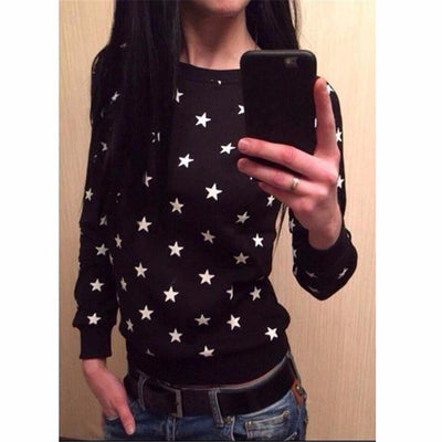 Fashion New European Star printing Sweatshirt Hoodies Long Sleeve loose women Crewneck size S-XL 2018