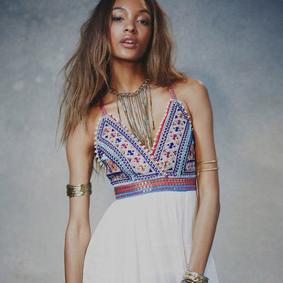 Summer Women Embroidery Hippie Boho Party White Beach Dress Long Maxi Dress