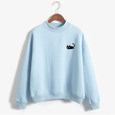Autumn Casual Harajuku Kawaii Black Cat Sweatshirts Women Long Sleeve Turtleneck Tops Pullover Funny Cartoon Print Hoodies