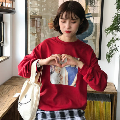 Autunm New College Wind Vintage Character Printed Letter Emboridered Long Sleeve Cotton Casual Female Sweatshirts