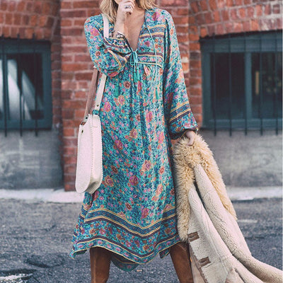 Embroidery Blouse Dress Plus Size Summer Cool Chiffon Beach Dresses Feminina Floral Print Vestidos Boho Hippie Robe