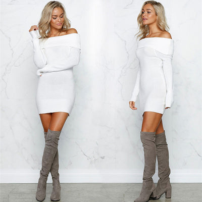 NEW Winter Sexy Solid Mini Off-Shoulder Bodycon Full Sleeve Dress Party Short White Dresses Vestidos Hippie Clothes 9.26