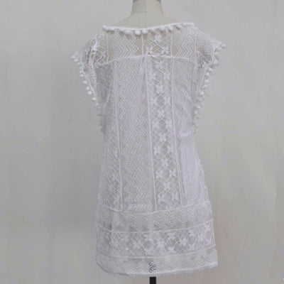 New Arrival Beach Women Solid White Sleeveless Lace Dresses Yoke Shift Loose Tank Sexy Rayon Dress MT1262