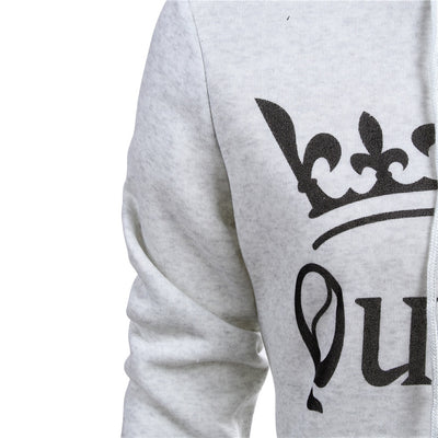 New Women Men Hoodies King Queen Printed Sweatshirt Lovers Couples Hoodie Hooded Sweatshirt Casual Pullovers Tracksuits