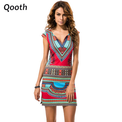 Summer Women Vintage Ethnic Dress Brand Baroque Style Deep V-Neck Floral Print Casual Beach Dress Boho Hippie Vestido DN384
