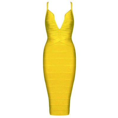 Summer new women sleeveless deep v neck bandage dress sexy backless celebrity party black yellow red beige dresses vestidos