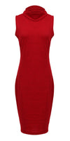 US STOCK Women Hip Wrap Stretch Bodycon Sleeveless Turtle Neck Pencil Dress Womens
