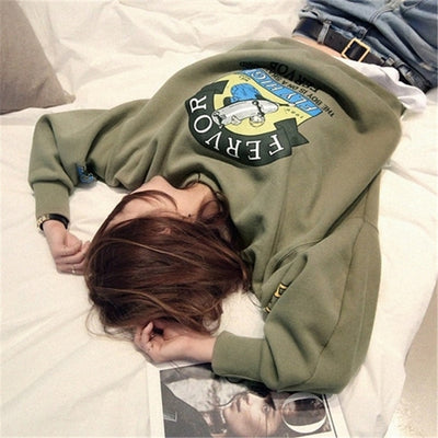 Winter Autumn New Harajuku Funny Cartoon Tracksuit for Women Pullover Fleece Hoodies Loose Female Sweatshirt Army Green 2XL