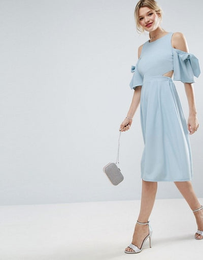 Women A-line Off the Shoulder Bow Dress Light Blue O-neck Dress Backless Hollow Out Sweet Dressses Lady Grace Femininas