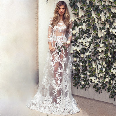 Women see-through dress Hippie Boho Sexy Deep O-Neck Lace Beach Wear long dress White Maxi Dress Vestidos FT316