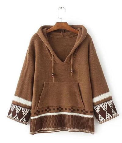 chic boho winter knitted women sweater pullovers ethnic embroidered Nine point sleeve loose Hippie Bohemia Hooded sweaters