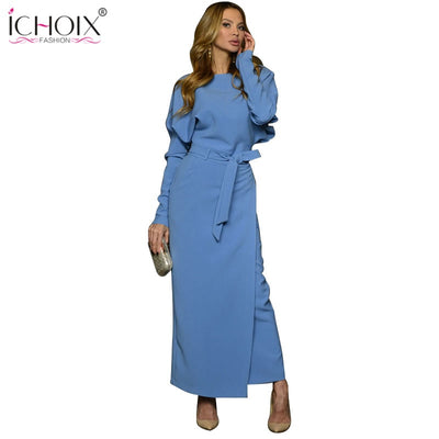 Autumn Long Party Dress Women Winter Blue Women Office Dress Style Split Elegant Evening Female Bodycon Maxi Wrap Dresses