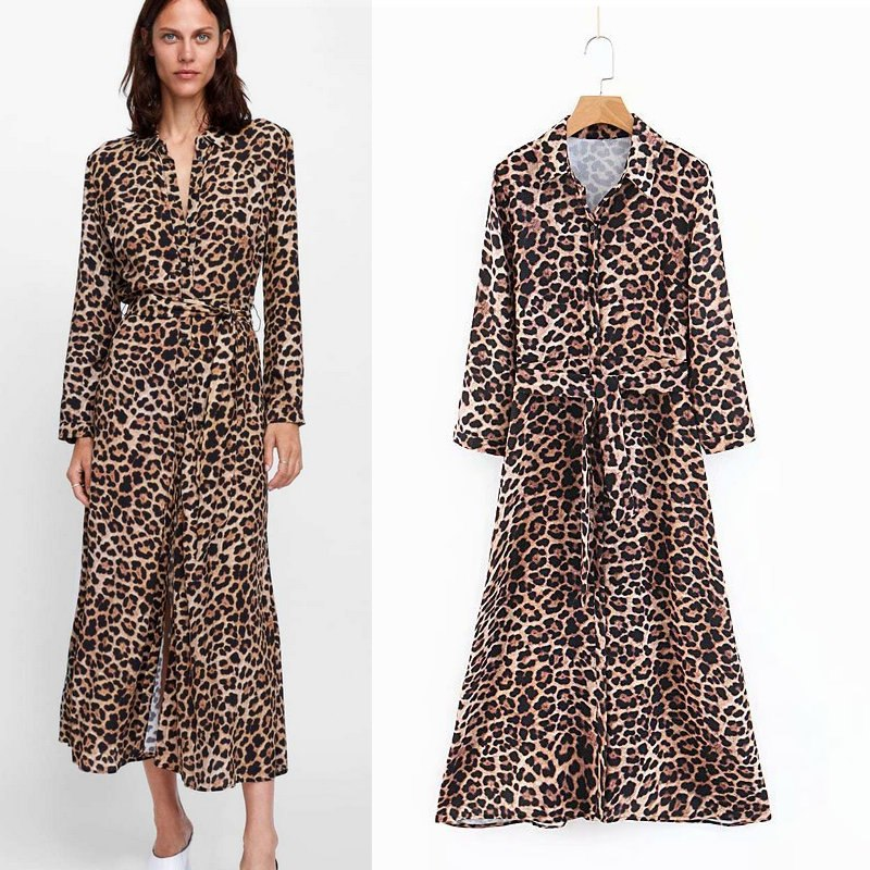 9cd1f05746f 2018 Autumn New Women Leopard Print Maxi Dress Bow Tie Sashes Long Sleeve  Retro Ladies Casual