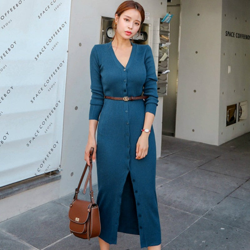 a7c7c5a70e45 2018 Autumn V-Neck Blue Single Breasted Knitted Cardigan Belt Bodycon  Pencil Ankle-Length