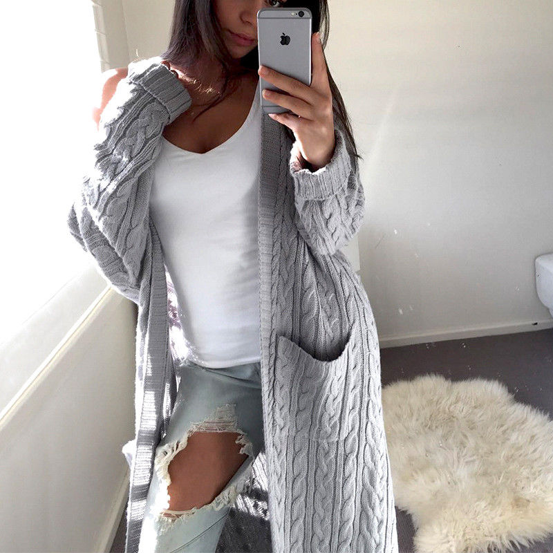 0f243ca300c 2018 Autumn Winter Fashion Women Long Sleeve Pockets Casual Cotton Knitted  Cardigan Sweater Outwear Jacket Coat