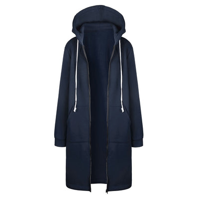 Autumn Winter Hoodies Women Hooded Jacket Fashion Casual Long Zipper Hoodies Sweatshirt Vintage Plus Size Outwear Coat 5XL