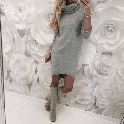 Autumn Winter Women Knitted Sweater Dresses Turtleneck Bodycon Slim Jumper Vestido Long Causal Pullover WS5260C