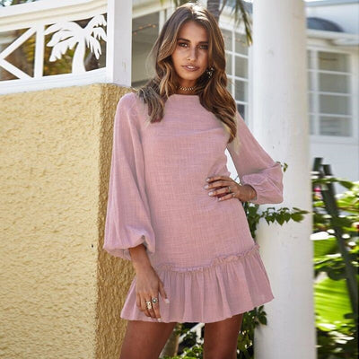 Autumn Winter Women Mini Dress Sexy O Neck Long Sleeve Ruffles Short Dresses Casual Streetwear Dress Vestidos