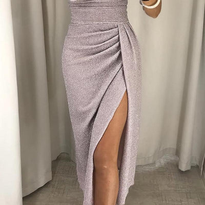 Autumn Women Fashion Sexy Elegant Bodycon Party Dresses Long Sleeve Knitte Shiny Off Shoulder Ruched Thigh Slit Dress