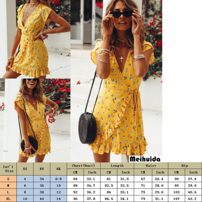 Bohemian Style Women Summer Casual Short Sleeve V Neck Bandage Bodycon Evening Party Print Short Mini Dress