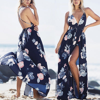 Boho deep v neck backless long dress women Chiffon split cross lace up summer dress Sleeveless beach maxi dress vestidos