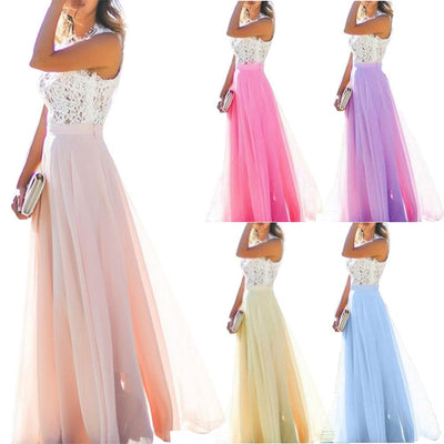 Brand New Long Dress Hollow Out Bohemian Sleeveless High Waist Women FLoor-Length Party Evening Dance Dresses Dropshipping