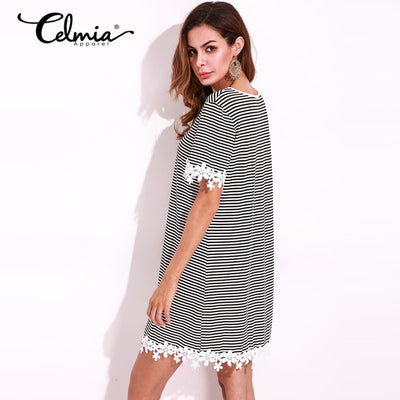 Casual Summer Womens Dress Short Sleeve Round Neck Lace Mini Shift Dress Striped T Shirt Women Short Dresses Plus Size 5XL
