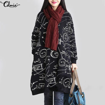 Celmia Women Autumn Long Sleeve Print Vintage Dress Winter Velvet Pockets Casual Loose Midi Dresses Oversized Plus Size 5XL