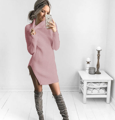 Color Bar Wool Cloth and Autumn Dress Female O Neck Long Sleeve Women Knee Length Dress Casual Solid Color Ladies Dress