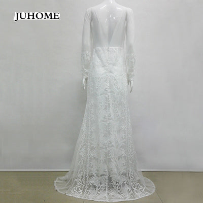 Evening long style formal white lace dresses Wedding event Party vestido de renda robe femme women clothing