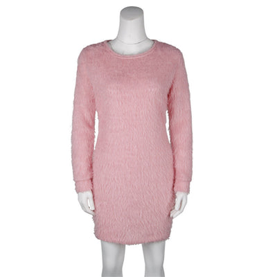 Fashion Plush Sweater Dress Women Party Night Bodycon Dresses Autumn Winter Red Clothing Casual Sexy Mini Knitted Sweater
