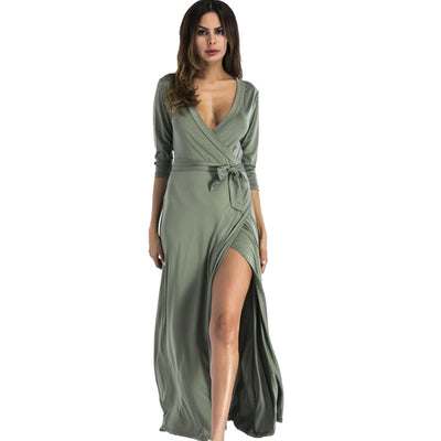 Fashion Style Women Maxi Dress Sexy club Elegant Long Party Dresses Deep V neck Floor Length green red Vestidos robe femme