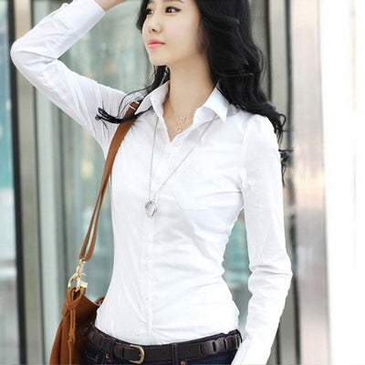 Fashion Women OL Shirt Long Sleeve Turn-down Collar Button Lady Blouse Tops White Black Short Sleeve