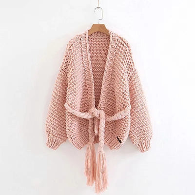 Hand Knitted Cardigans Women Coat Autumn Winter Long Sleeve Loose Sweater Women Poncho Sashes Crochet Cardigan