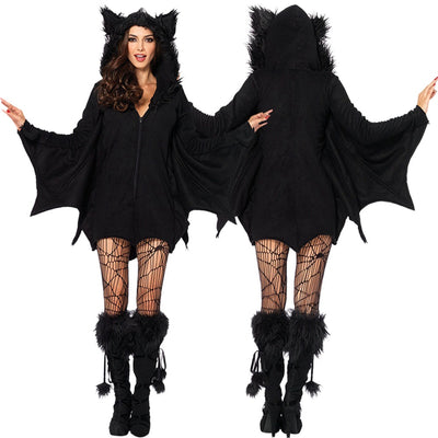 Cosplay Masquerade Halloween Dress Costume Vampire Queen Witch Bride Dress Fitted Black Angel Role Play