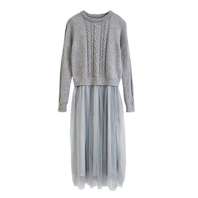Korean Autumn Winter Dress Elegant Ladies O Neck Long Sleeve Knitted Midi Dress High Elstic Mesh Warm Women Dress