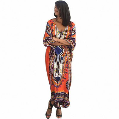 Ladies\ Print Beach Sundress Sexy V-neck Bohemian Long Dress African Ethnic Summer Loose Vintage Kaftan Maxi Dresses